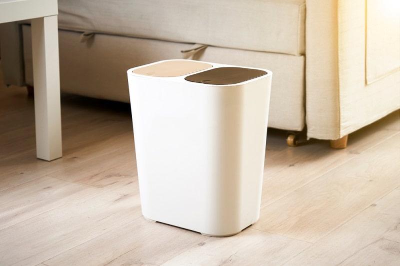 easy home dual compartment separator bin